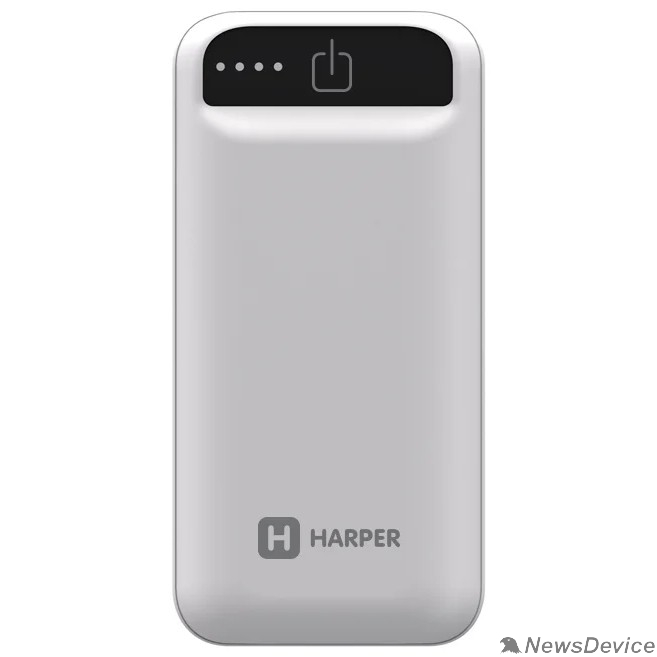 Аксессуар Harper Аккумулятор внешний портативный PB-2605 White(5 000 мАч; Тип батареи: Li-Ion; Фонарик; LED индикатор уровня заряда; Вход: 5В/1А; Выход USB 1: 5В/1)