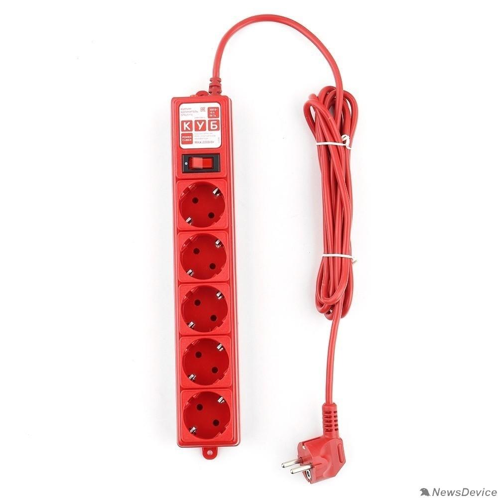 Сетевые фильтры PowerCube Фильтр-удлинитель (SPG-MXTR-14) 3м, 5 розеток, 10А/2,2кВт, красный