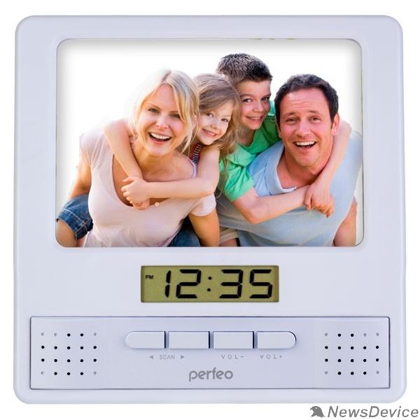 "Колонки Perfeo Часы-радио-фоторамка ""Foto"", серебряный, (PF-S6005)"