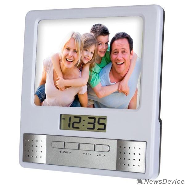 "Колонки Perfeo Часы-радио-фоторамка ""Foto"", белый, (PF-S6005)"