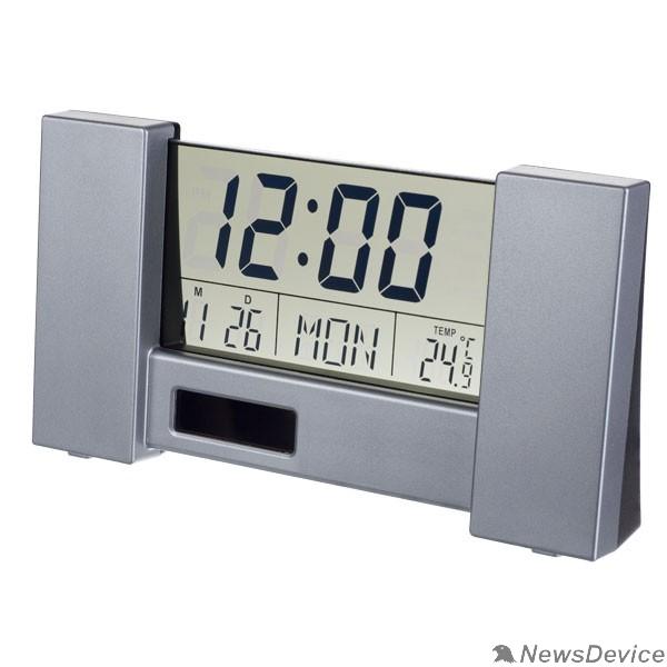 "Колонки Perfeo Часы-будильник ""City"", серебряный, (PF-S2056) время, температура, дата"