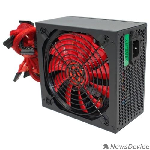 Блок питания Ginzzu PC500 14CM(Red) 80+ black,APFC,24+4p,2 PCI-E(6+2), 5*SATA, 4*IDE,оплетка, кабель питания,цветная коробка