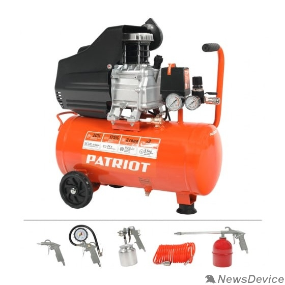Компрессоры, Пневматическое оборудование PATRIOT EURO 24-240K + набор пневмоинструмента KIT 525306366