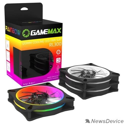 Вентиляторы GameMAX RL300 Комплект вентиляторов 3*120мм два кольца RGB подсветки, контроллер, пульт