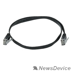 Патч-корды, Патч-панели ITK PC09-C06U-D05M-FL Коммутационный шнур плоский кат.6UTP 0,5м чёрный