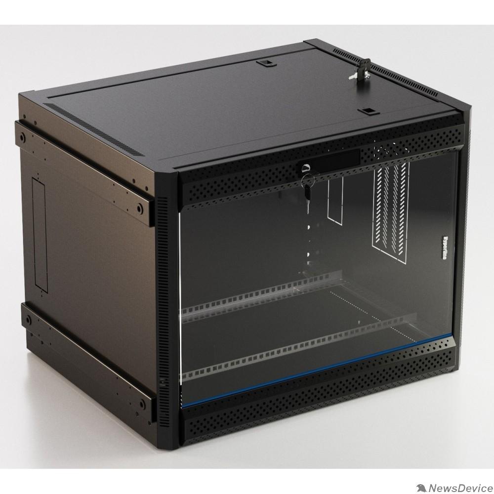 """Монтажный шкаф Hyperline TWB-FC-1266-GP-RAL9004 Шкаф настенный 19-дюймовый (19""""), 12U, 650x600x600 мм, стеклянная дверь с перфорацией по бокам, ручка с замком, с возможностью установки на ножки, цвет черный RAL 9004"""