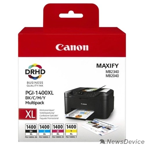 Расходные материалы Canon PGI-1400XL BK/C/M/Y (9185B004)  Картридж струйный для MAXIFY МВ2040 и МВ2340, Multipack (GQ)