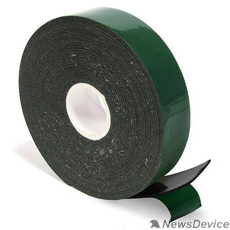 Скотч  Двухсторонний скотч REXANT, зеленого цвета на черной основе, 25мм, 5метров 09-6125