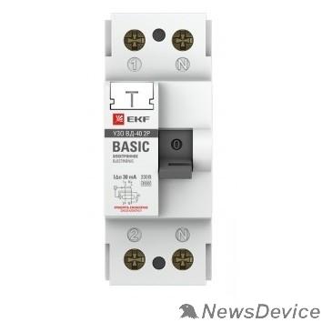 EKF УЗо и устройства защиты от импульсных перенапр EKF elcb-2-25-30e-sim Устройство защитного отключения УЗО ВД-40 2P 25А/30мА (электронное) EKF Basic
