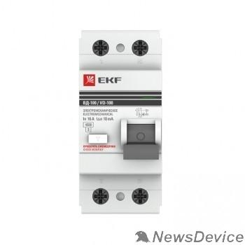EKF УЗо и устройства защиты от импульсных перенапр EKF elcb-2-63-300-em-pro Устройство защитного отключения УЗО ВД-100 2P 63А/300мА (электромеханическое) EKF PROxima