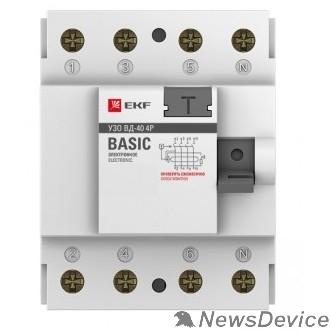 EKF УЗо и устройства защиты от импульсных перенапр EKF elcb-4-40-30e-sim Устройство защитного отключения УЗО ВД-40 4P 40А/30мА (электронное) EKF Basic