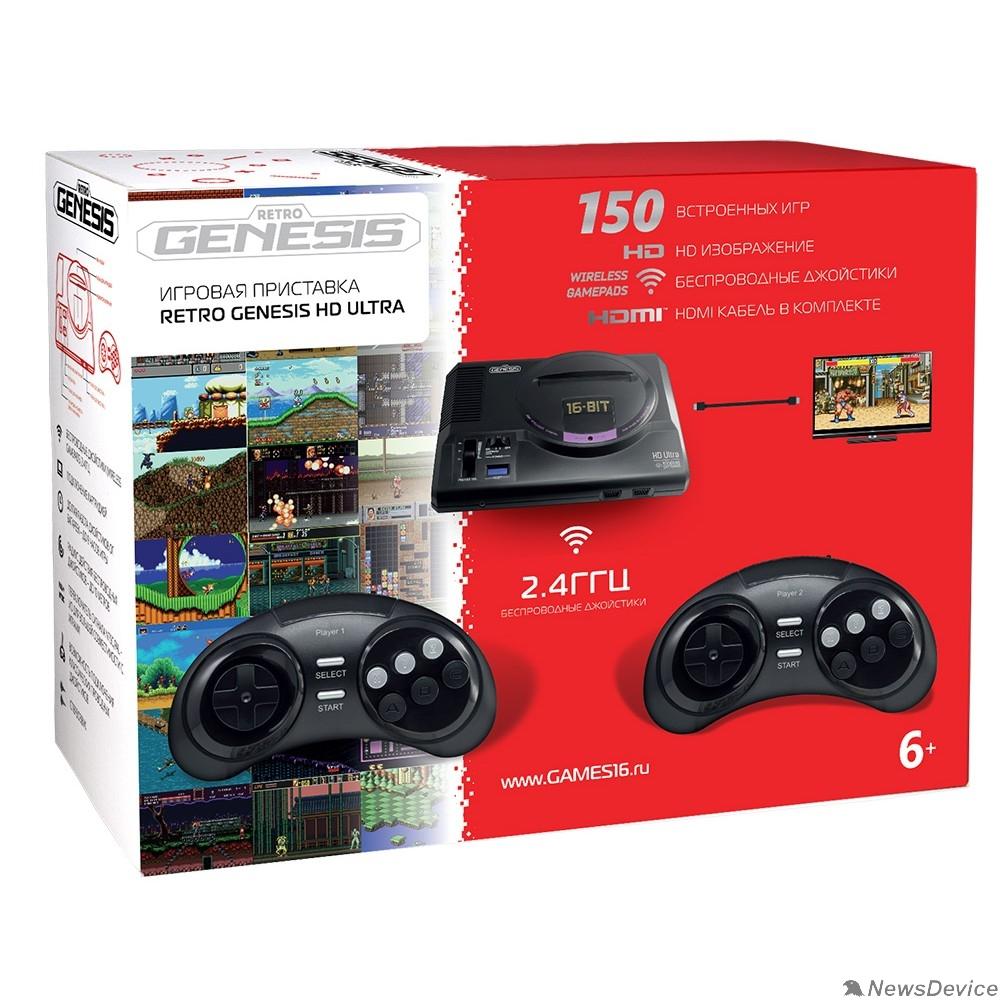 Игровые приставки SEGA Retro Genesis HD Ultra + 150 игр (2 беспроводных 2.4ГГц джойстика, HDMI кабель) ConSkDn70 611416