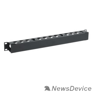 """Монтажное оборудование ITK CO05-1MCM Кабельный органайзер с крышкой 19"""" 1U, черный"""