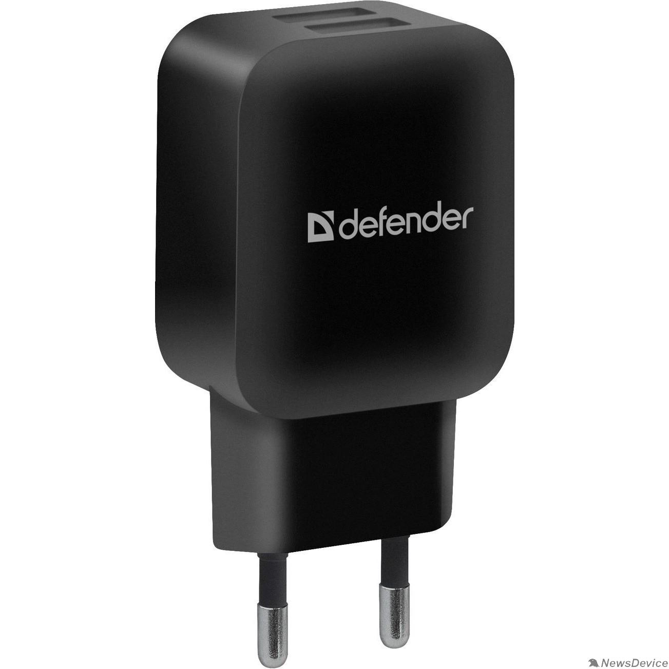 Аксессуар Defender Сетевой адаптер 2xUSB, 5V/2.1А, черный, пакет (EPA-13) (83840)