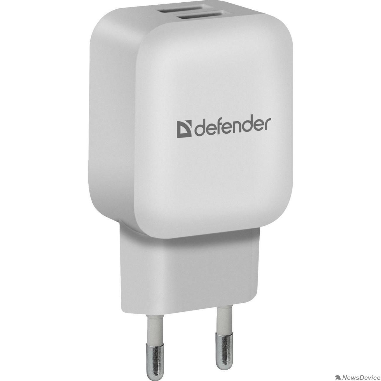 Аксессуар Defender Сетевой адаптер 2xUSB, 5V/2.1А, белый, пакет (EPA-13) (83841)