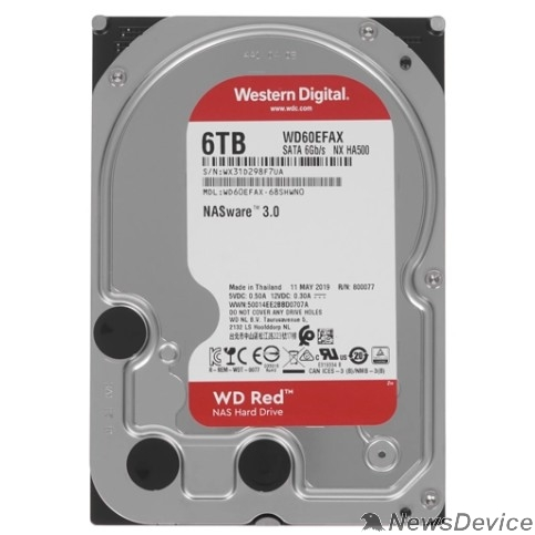 """Жесткий диск 6TB WD Red (WD60EFAX) Serial ATA III, 5400- rpm, 256Mb, 3.5"""""""