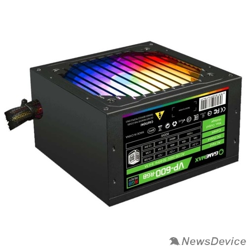 Блоки питания GameMax VP-600-RGB 80+ Блок питания ATX 600W, Ultra quiet