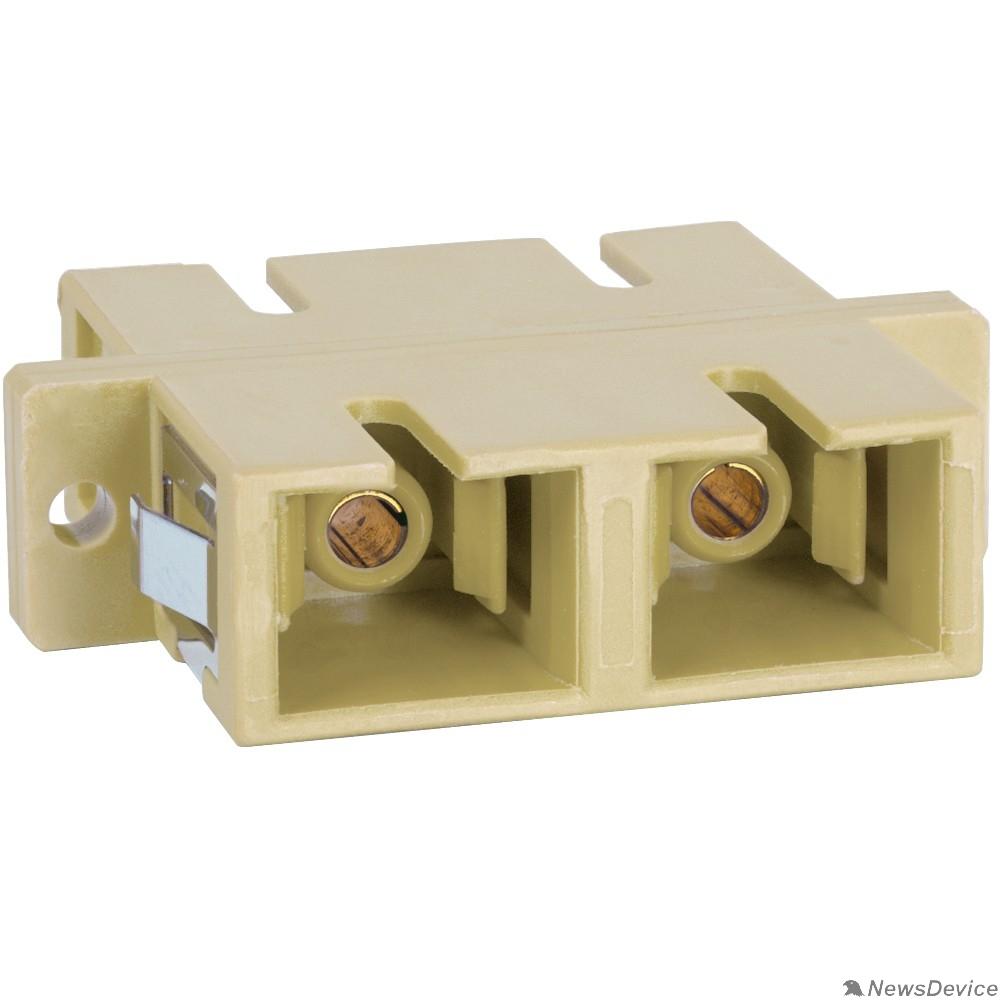 Монтажное оборудование Hyperline FA-P11Z-SC/SC-N/BK-BG Оптический проходной адаптер SC-SC, MM, simplex, корпус пластиковый, бежевый, черные колпачки