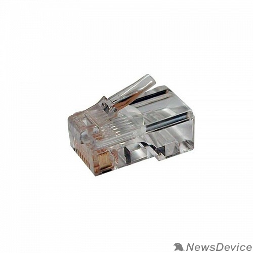 """Монтажное оборудование Hyperline PLEZ-8P8C-U-C5-100 Разъем легкой оконцовки RJ-45 (8P8C) под витую пару, категория 5 (50 µ""""/ 50 микродюймов), универсальный (для одножильного и многожильного кабеля) (100 шт.)"""