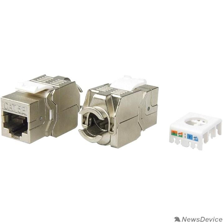 Монтажное оборудование Hyperline KJ8-8P8C-C5e-180-TLS-SH-F-WH Вставка Keystone Jack RJ-45(8P8C), категория 5e, экранированная, тип 180 градусов, Toolless, белая