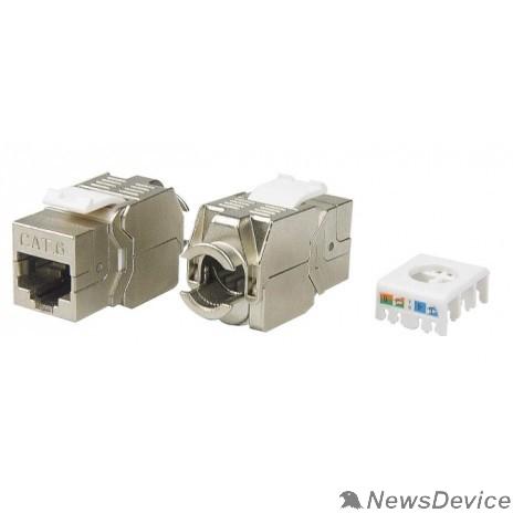 Монтажное оборудование Hyperline KJ8-8P8C-C6-180-TLS-SH-F-WH Вставка Keystone Jack RJ-45(8P8C), категория 6, экранированная, тип 180 градусов, Toolless, белая