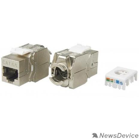 Монтажное оборудование Hyperline KJ8-8P8C-C6A-180-TLS-SH-F-WH Вставка Keystone Jack RJ-45(8P8C), категория 6a (10G), экранированная, тип 180 градусов, Toolless, белая