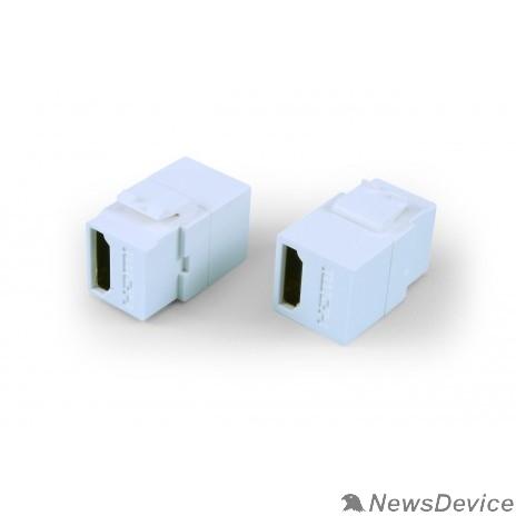 Монтажное оборудование Hyperline KJ1-HDMI-AL18-WH Вставка формата Keystone Jack с проходным адаптером HDMI (Type A), long body (29.7 мм), ROHS, белая