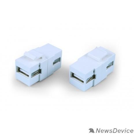 Монтажное оборудование Hyperline KJ1-USB-A2-WH Вставка формата Keystone Jack с проходным адаптером USB 2.0 (Type A), ROHS, белая