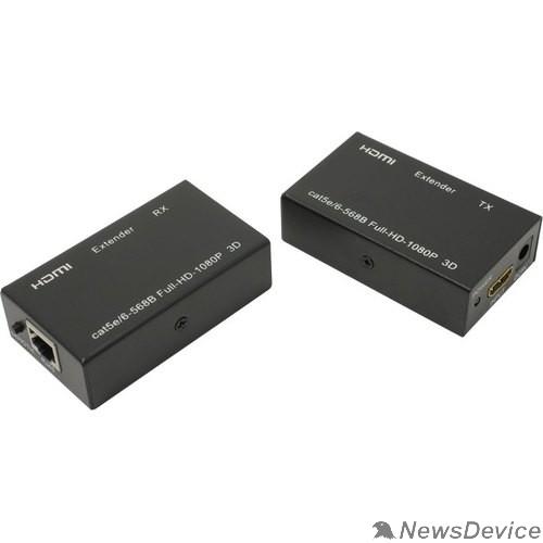 Переходник ORIENT VE045, HDMI extender (Tx+Rx), активный удлинитель до 60 м по одной витой паре, HDMI 1.4а, 1080p@60Hz/3D, HDCP, подключается кабель UTP Cat5e/6, питание от внешних БП 5В/1А, метал.корпуса(30905)