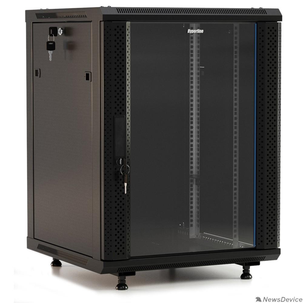 """Монтажный шкаф Hyperline TWB-FC-2266-GP-RAL9004 шкаф настенный 19-дюймовый (19""""), 22U, 1098x600x600 мм, стеклянная дверь с перфорацией по бокам, ручка с замком, с возможностью установки на ножки, цвет черный (RAL 90"""