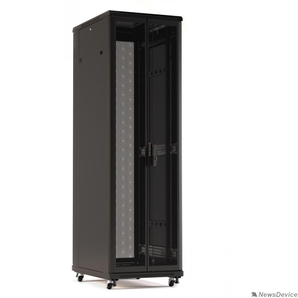 Монтажный шкаф Hyperline TTR-2281-DD-RAL9005 шкаф напольный 19-дюймовый, 22U, 1166x800x1000 мм (ВхШхГ), передняя и задняя распашные перфорированные двери (75%), ручка с замком, цвет черный (RAL 9005) (разобранный)