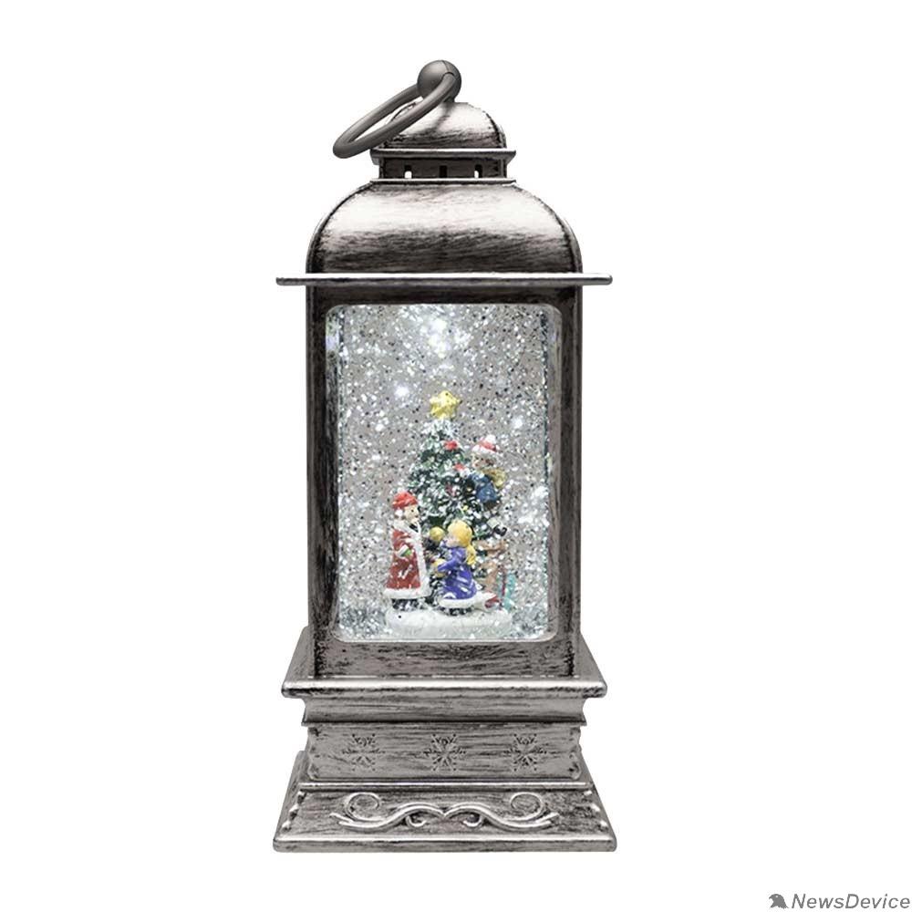 Новогодние светоукрашения Neon-night 501-065 Декоративный фонарь с эффектом снегопада и подсветкой «Рождество», белый