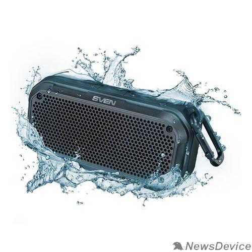 Колонки SVEN PS -240,  черный  (12  Вт,  Waterproof  (IPx7),  TWS, Bluetooth, microSD, карабин, 2000мА*ч),