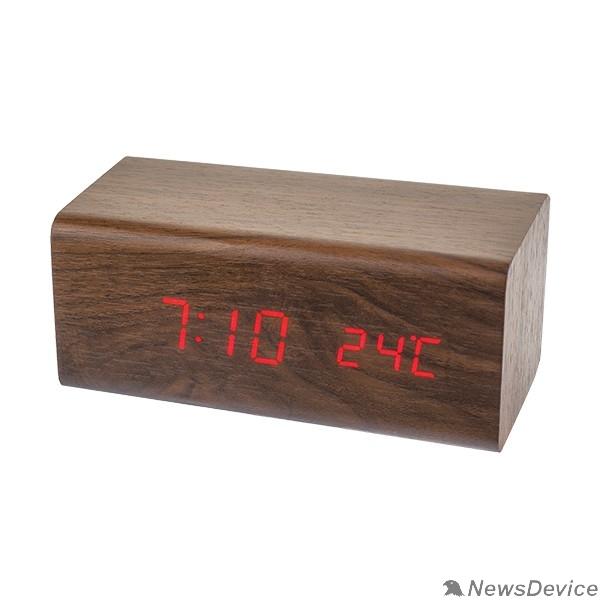 "Колонки Perfeo LED часы-будильник ""Block"", коричневый/красная (PF-S718T) время, температура"