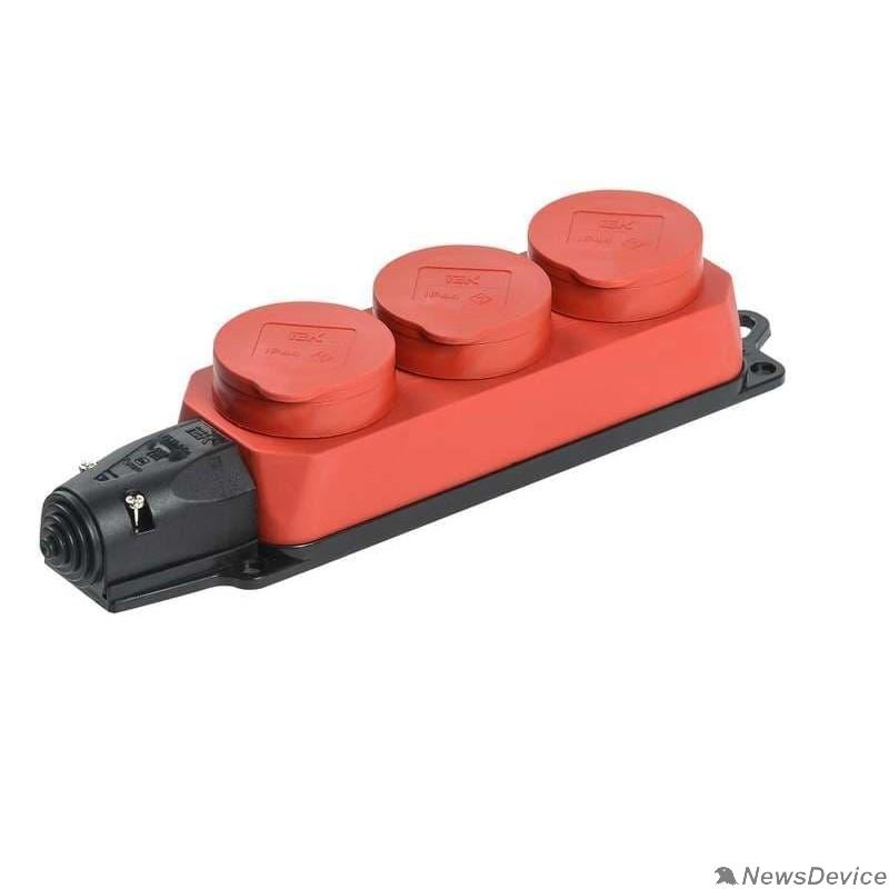 Разъёмы, колодки, тройники Iek PKR61-016-2-K04 РБ33-1-0м Розетка трехместная с защитными крышками ОМЕГА IP44 красная