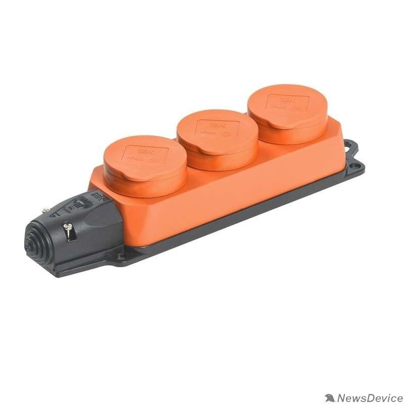 Разъёмы, колодки, тройники Iek PKR61-016-2-K09 РБ33-1-0м Розетка трехместная с защитными крышками ОМЕГА IP44 оранжевая