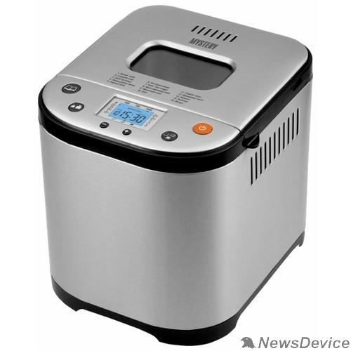 Разное  MYSTERY MBM-1208 Хлебопечь. Мощность: 710 Вт, Вес выпечки: 500 г/750г/1000г, Жидкокристаллический дисплей, Электронное управление, 15 программ выпечки.