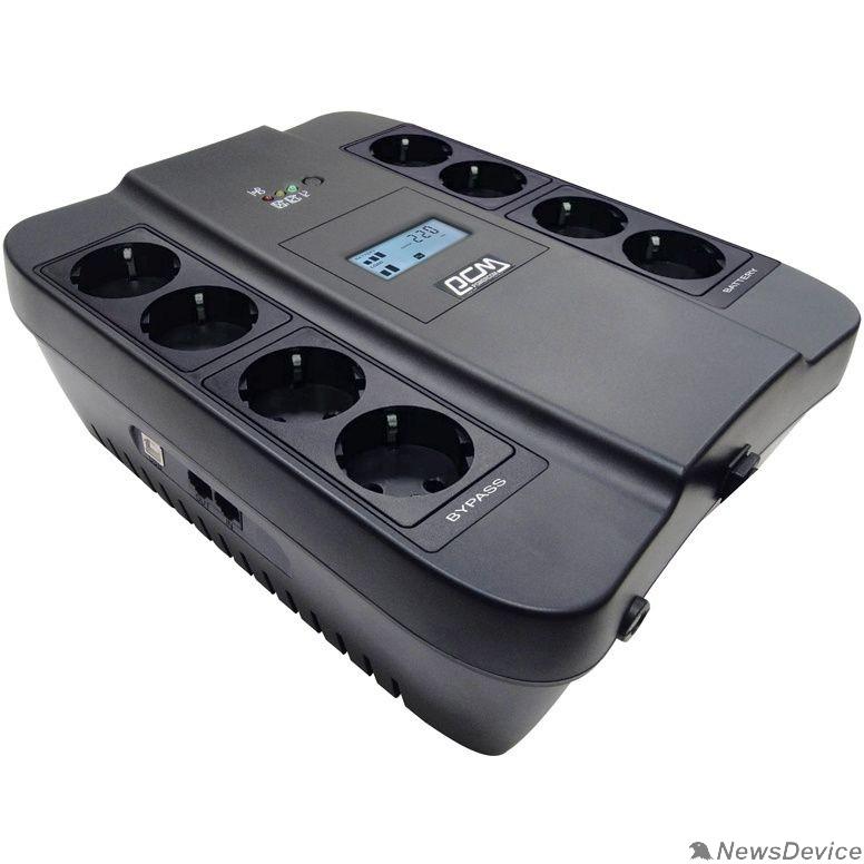 ИБП UPS PowerCom SPD-550U LCD Line-Interactive, 550VA / 330W, 8xEURO: 4 с резервным питанием, 4 с фильтрацией, USB