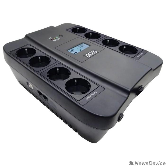 ИБП UPS PowerCom SPD-1100U LCD Line-Interactive, 1100VA / 605W, 8xEURO: 4 с резервным питанием, 4 с фильтрацией, USB