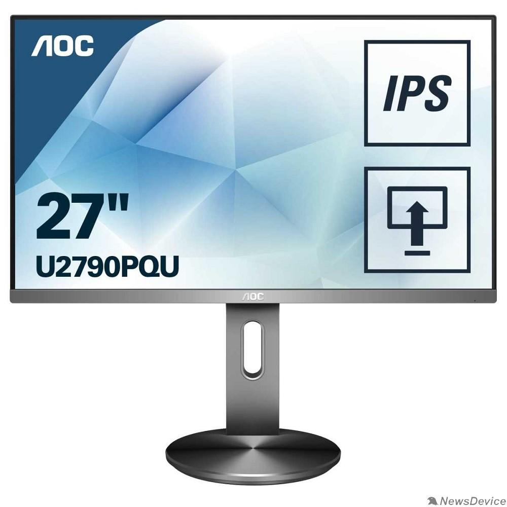 "Монитор LCD AOC 27"" U2790PQU черный/серый с поворотом экрана IPS 3840x2160 5ms 178/178 350cd 50M:1 HDMI1.4 HDMI2.0 DisplayPort1.2 2xUSB3.0 MM"