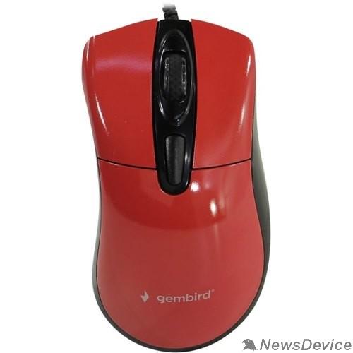 Мышь Gembird MOP-415-R Мышь, USB, красный, 3кн.+колесо-кнопка, 2400DPI кабель 1.4м