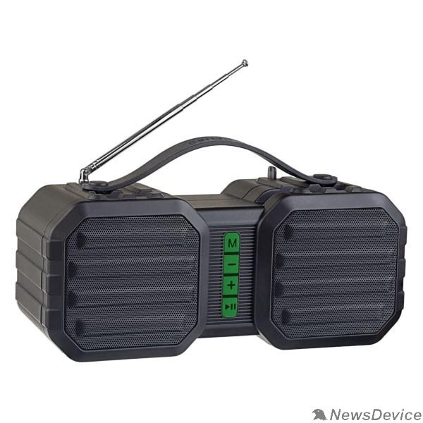 """Колонки Perfeo Bluetooth-колонка """"STAND"""" FM, MP3 microSD, USB, AUX, мощность 10Вт, 2400mAh, черная/зеленая"""