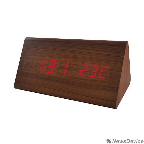 "Колонки Perfeo LED часы-будильник ""Pyramid"", коричневый / красная (PF-S710T) время, температура"