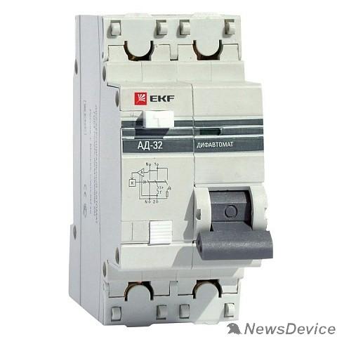 EKF Дифавтоматы EKF DA32-32-30-pro Дифференциальный автомат АД-32 1P+N 32А/30мА (хар. C, AC, электронный, защита 270В) 4,5кА EKF PROxima