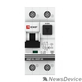 EKF Дифавтоматы EKF DA63-40-30e Дифференциальный автомат АВДТ-63 40А/30мА (хар-ка C, электронный тип A) 6кА EKF PROxima