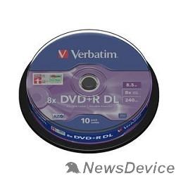 Диск Verbatim  Диски DVD+R , 8x, 8.5Gb Double Layer, 10шт, Cake Box (43666)