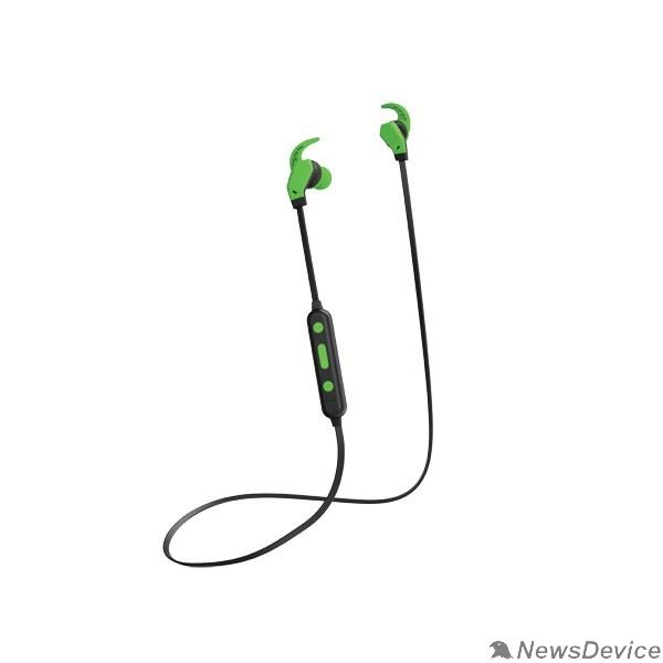 Наушники Perfeo наушники внутриканальные с микрофоном беспроводные WINGS чёрные/зеленые PF_A4902
