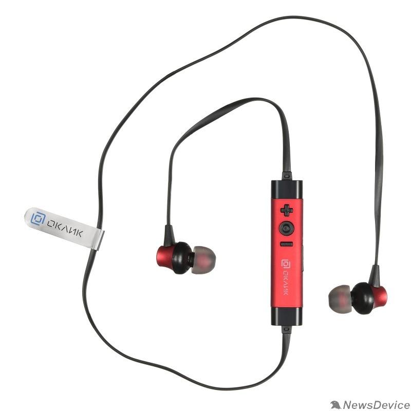 Наушники и микрофоны Oklick BT-S-155 красный беспроводные bluetooth (в ушной раковине)