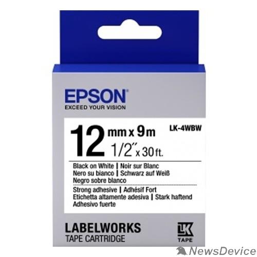 Расходные материалы Epson Картридж с лентой C53S654016 термотрансферная,  повышенной адгезии,  бел./черн.  12мм/9м - LK4WBW