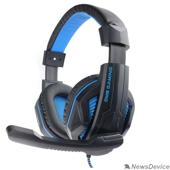 """Наушники Gembird MHS-G215, код """"Printbar"""", черный/синий, регулировка громкости, кабель2м"""